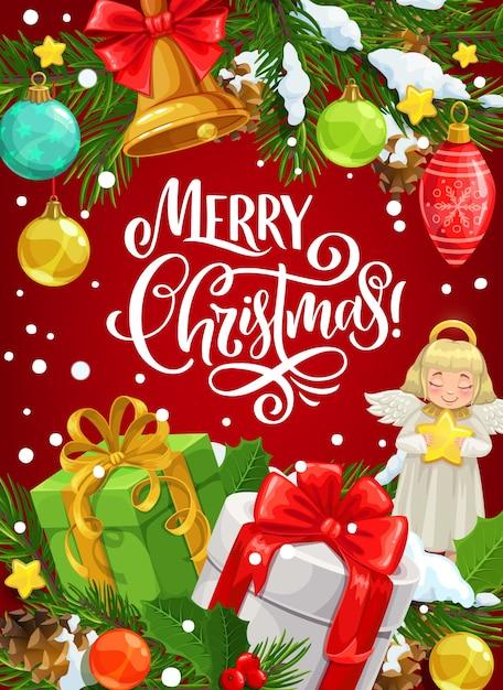 Xmas подарки открытка с пожеланиями счастливого рождества. Premium векторы