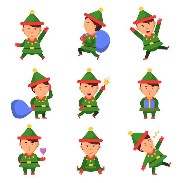 Эльфийские персонажи xmas mascot collection dwarf santa helper fun рождество мультфильм человек в позе действия Premium векторы