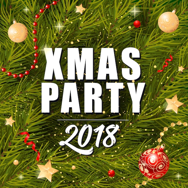 xmas party lettering and baubles vector free download