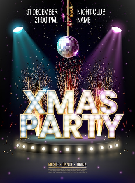 Xmas party poster template with glowing letters, light bulbs and a gold outline. Premium Vector