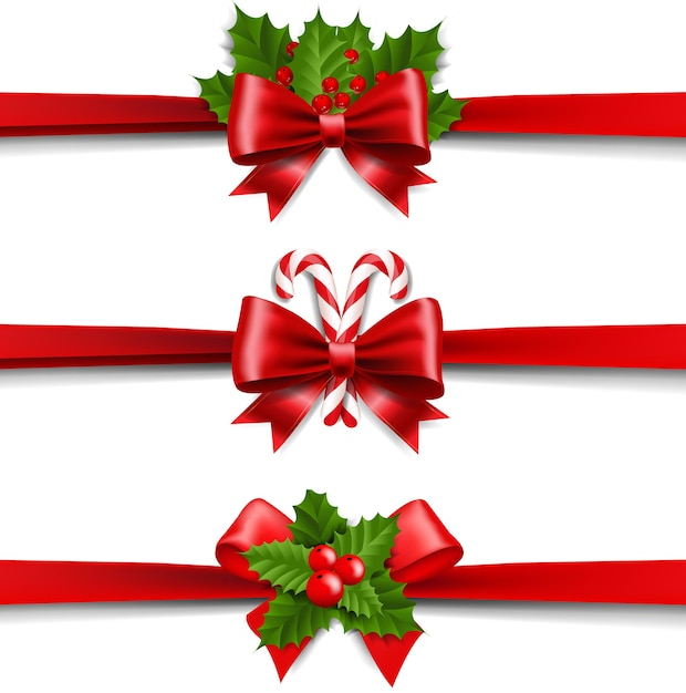 Xmas ribbons bow and holly berry set white background Premium Vector