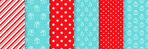 크리스마스 완벽 한 패턴입니다. 빨간색 파란색 그림 세트 프리미엄 벡터