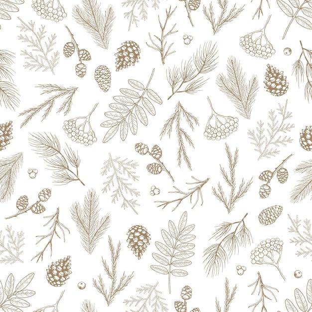 クリスマスツリーの装飾、松の枝の手描きアートデザインイラストとクリスマスシームレスパターン。 Premiumベクター
