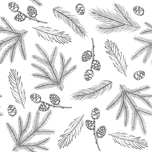 Xmas seamless pattern with christmas tree decorations, pine branches hand drawn art design vector illustration Premium Vector