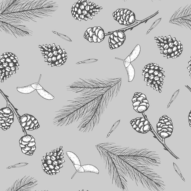クリスマスツリーの装飾、松の枝の手描きアートとクリスマスのシームレスなパターン Premiumベクター