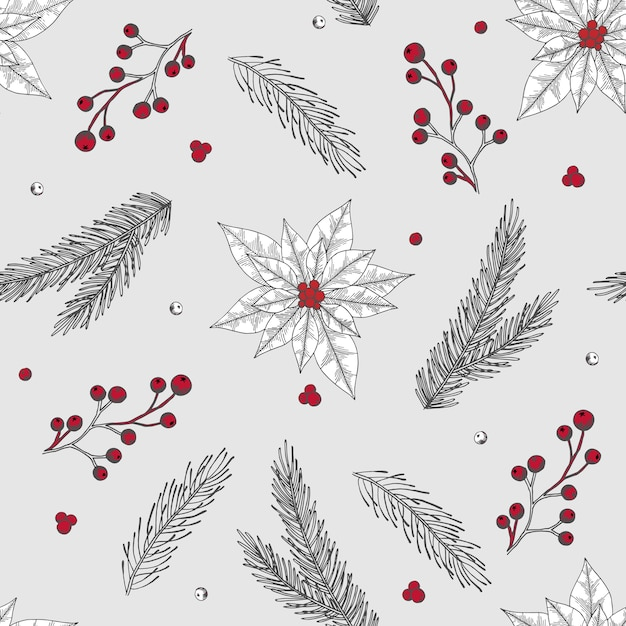 Xmas seamless pattern with christmas tree decorations, pine branches hand drawn art Premium Vector
