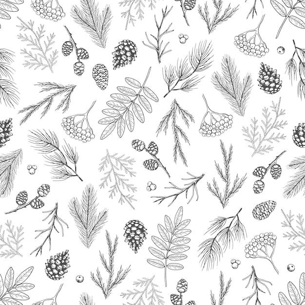 Xmas seamless pattern with christmas tree decorations Premium Vector