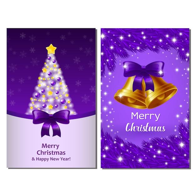 Xmas violet postcards Premium Vector