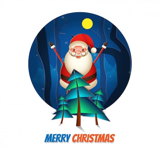 Жизнерадостный санта клаус поднимая руки вверх с деревом xmas отрезка бумаги на взгляде природы полнолуния для с рождеством христовым поздравительной открытки торжества. Premium векторы