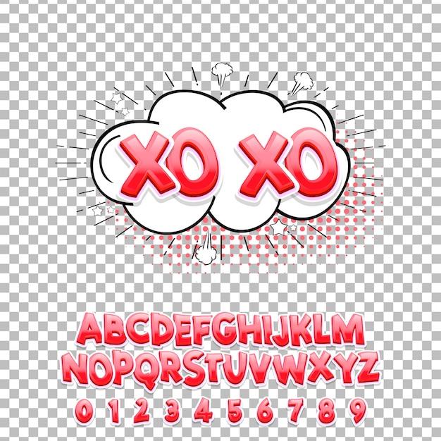 コミックレタリングフォントxo xo 3 d。ベクトルのアルファベット Premiumベクター