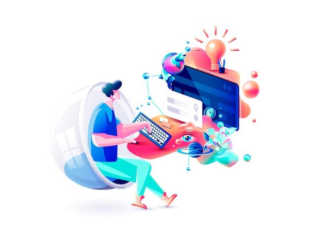 エクストリームカラフルなイラスト男ゲーマーマネージャー離れたリモート作業インターネットマーケティング担当者デザイナーフリーランサー座っているコンピューターサイバーパワー流体テレワークウェブデザインビジネス Premiumベクター