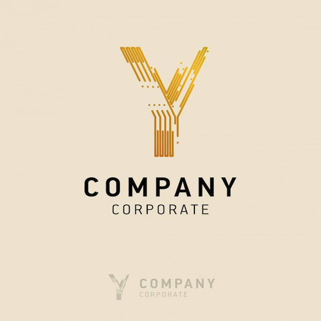 Y company logo design with visiting card vector Free Vector