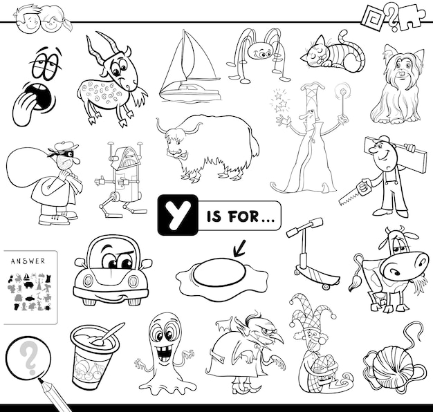 Y is for educational game coloring book Premium Vector