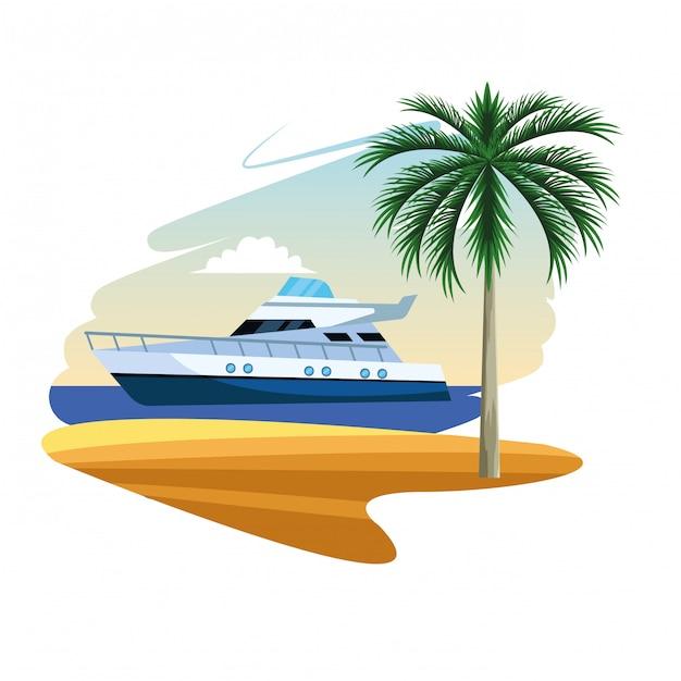 Yacht boat cartoon Premium Vector