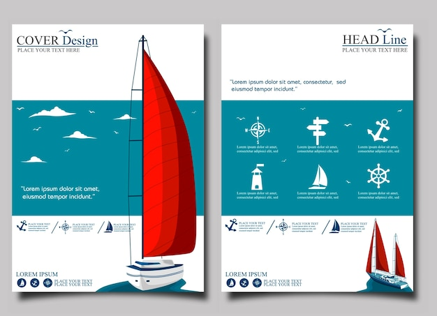 Yacht club flyer with sail boat. Premium Vector