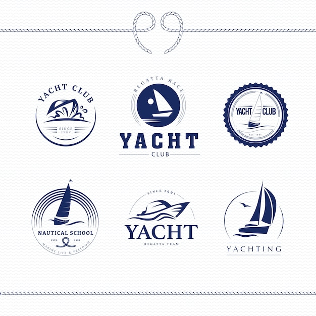 Векторная иллюстрация коллекции дизайна логотипа яхт-клуба. Premium векторы