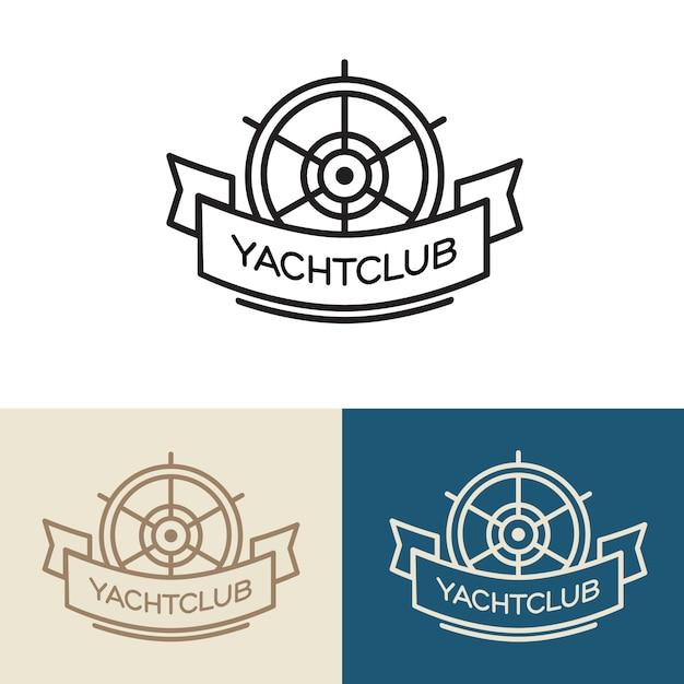 Yacht club logo design. illustration isolated on white background. Free Vector