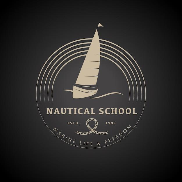 Yacht club logo design vector illustration. Premium Vector