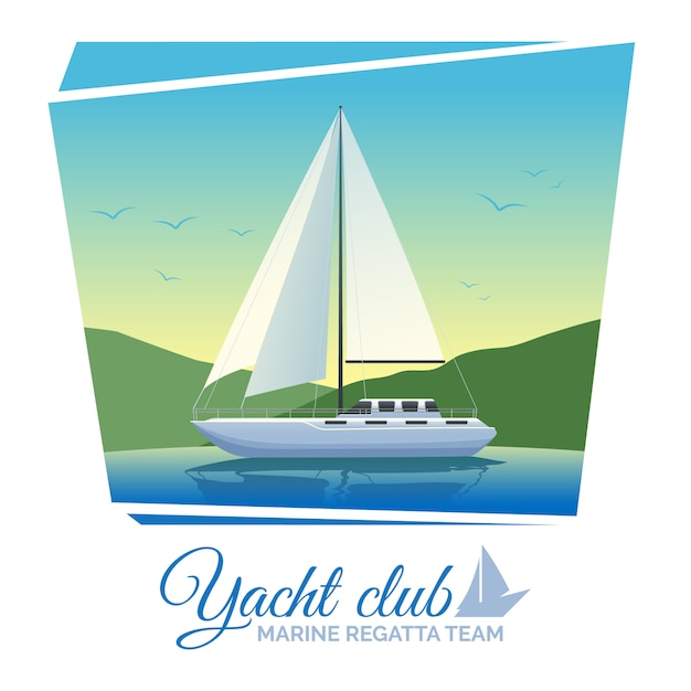 Yacht club poster Free Vector