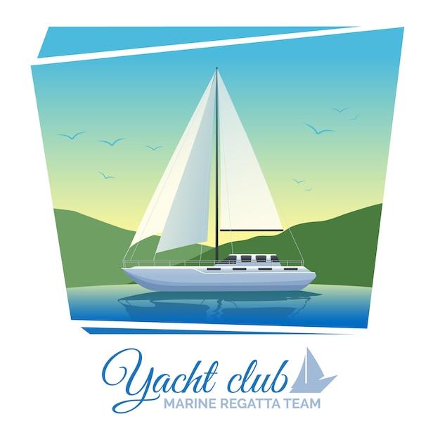 ヨットクラブポスター 無料ベクター