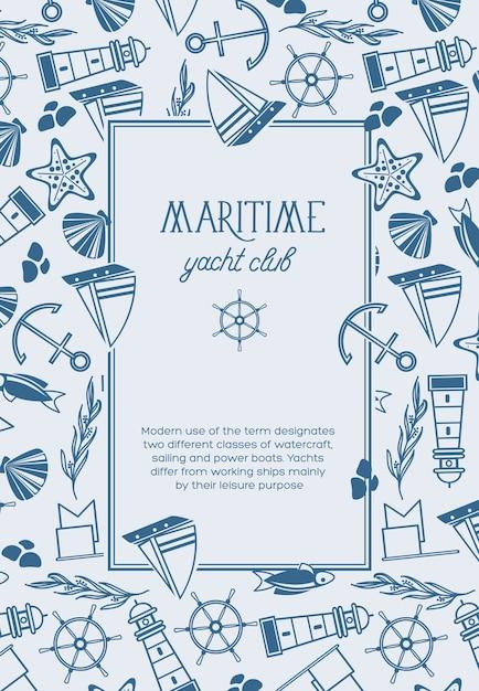魚、船、赤い星、旗などのモノクロの海事オブジェクトとヨットクラブの正方形のフレームスケッチ構成ポスター 無料ベクター