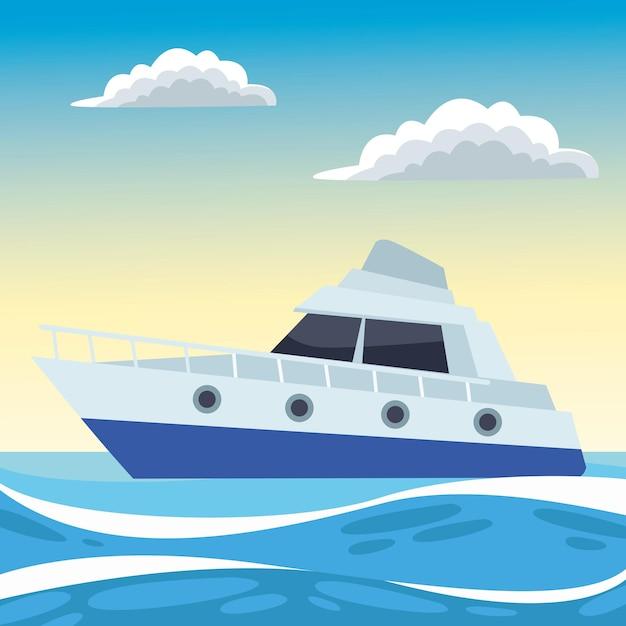 Яхта в океане Premium векторы