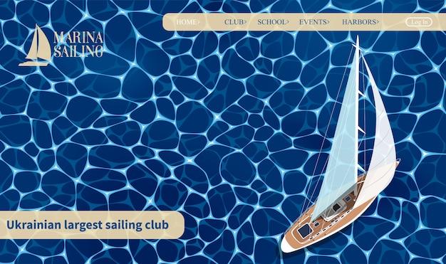 Набор баннеров яхтенного клуба. вид сверху парусная лодка на синей морской воде. роскошные яхтенные гонки, морская парусная регата. шаблон веб-сайта, посвященного морским яхтам или путешествиям по всему миру. Premium векторы