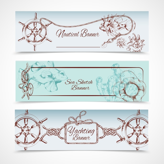 Yachting ocean nautical sketch horizontal\ banner set with steering wheel fish horse isolated vector\ illustration