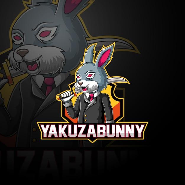 Якудза кролик киберспорт дизайн логотипа Premium векторы