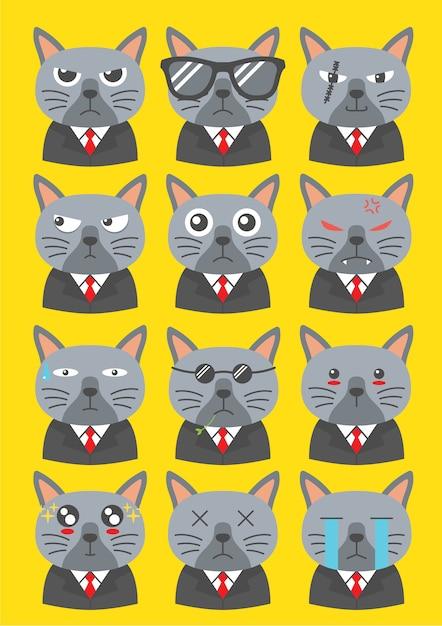 Персонажи кошек якудза Premium векторы