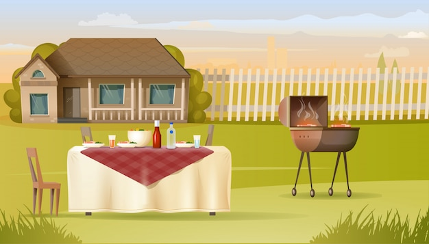Семейное барбекю на загородном доме yard vector Premium векторы
