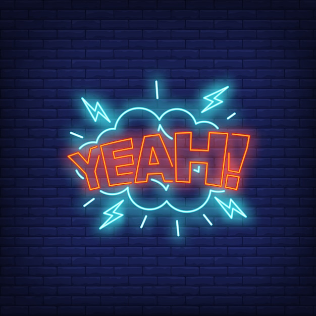 Yeah lettering neon sign Free Vector