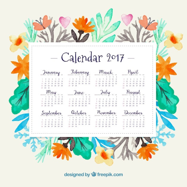 Year 2017 calendar with watercolor flowers Free Vector