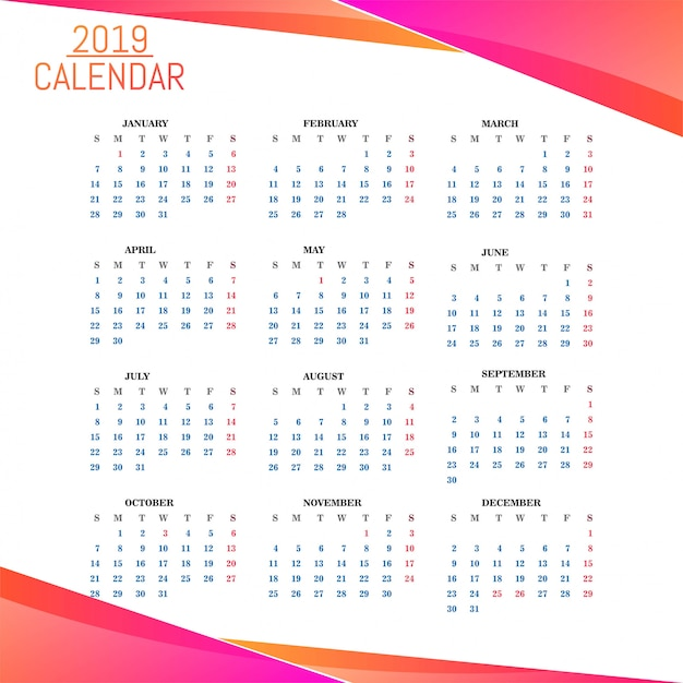 year 2019 calendar beautiful design free vector