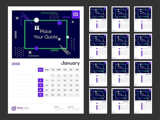 Year 2019, calendar design. Premium Vector