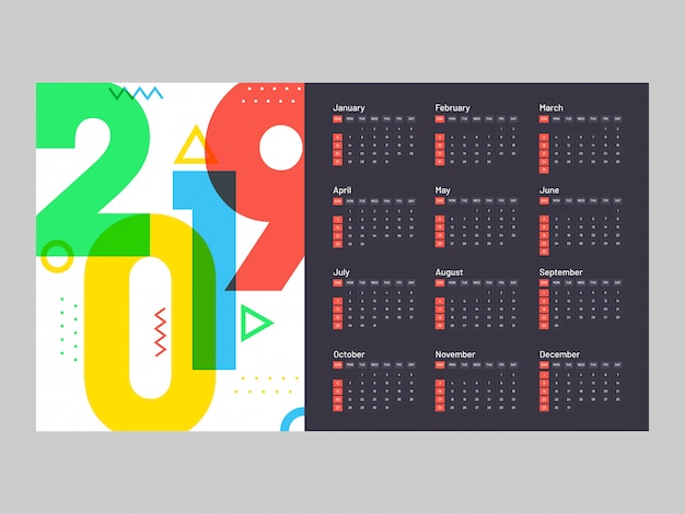 year 2019 calendar design premium vector