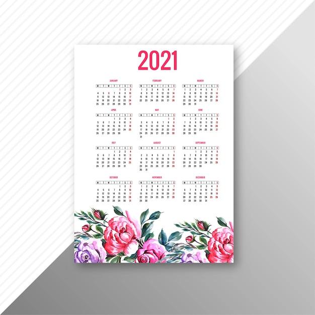 2021 년 아름다운 달력 다채로운 꽃 템플릿 디자인 무료 벡터
