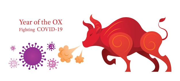 Year of the ox, fighting with covid-19 Premium Vector