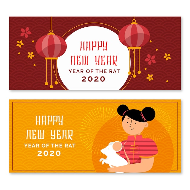 Year of the rat banners with woman holding a mouse Free Vector
