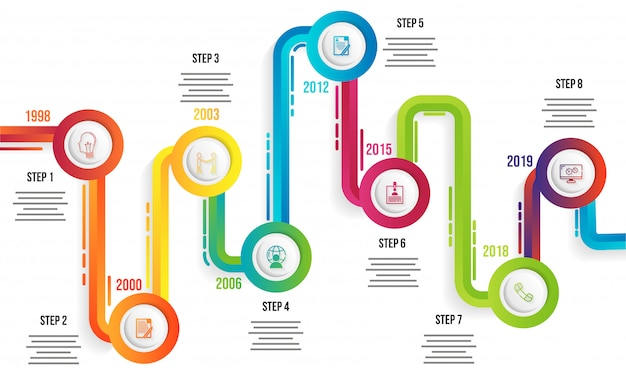 year timeline infographic template design with eight