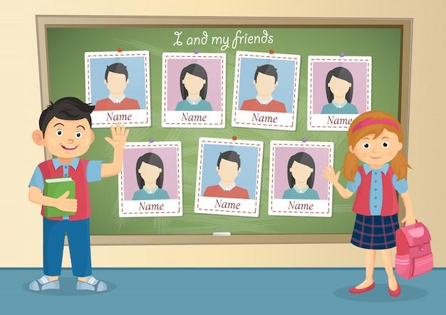 Yearbook for school about schoolboy and schoolgirl Premium Vector