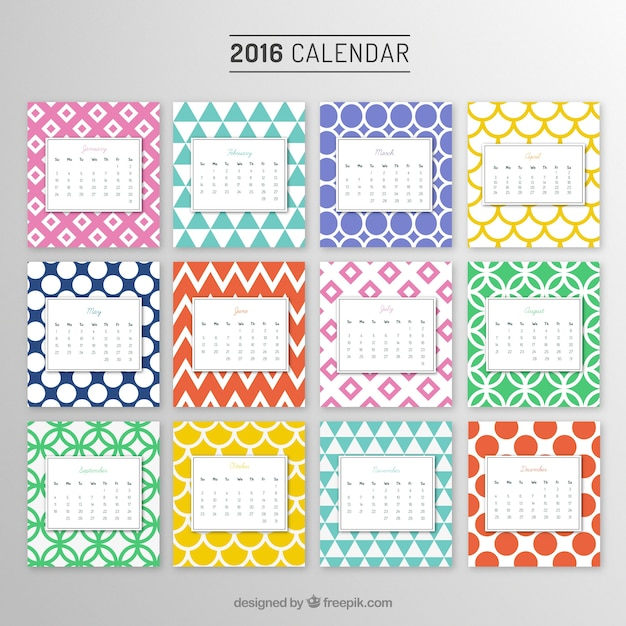 yearly calendar with colorful patterns vector free download