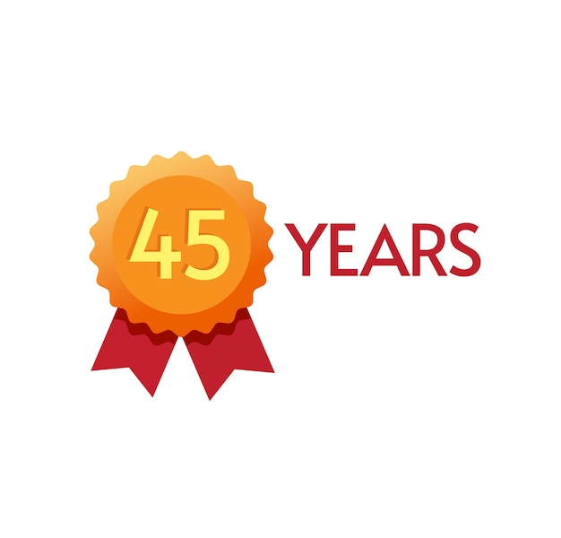 년 기념일 배지 평면 기호 일 또는 현대 황금 장미 상 디자인 45 생일 파티 유행 기호에 번호 하나 클립 아트 이미지 프리미엄 벡터