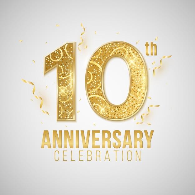 Обложка годовщины. элегантные золотые числа на белом фоне с падающими конфетти и мишурой. Premium векторы