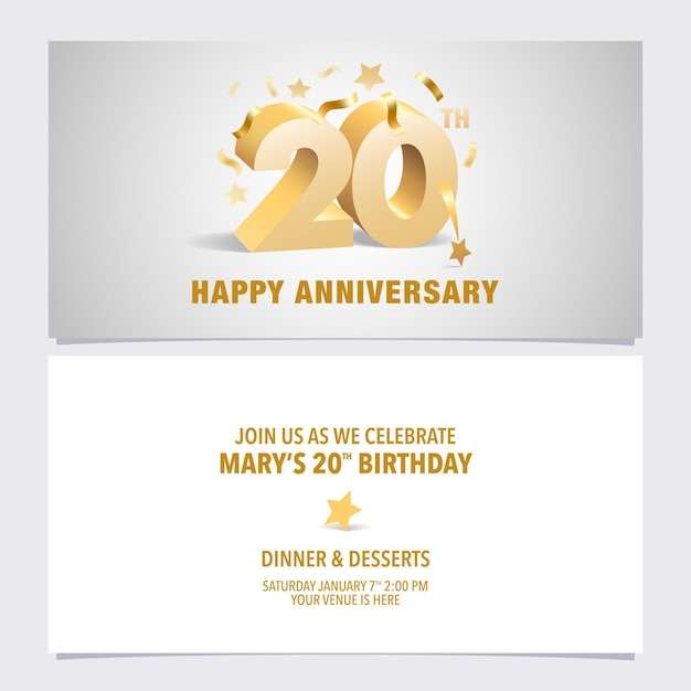 年記念日の招待カードのイラスト。 Premiumベクター