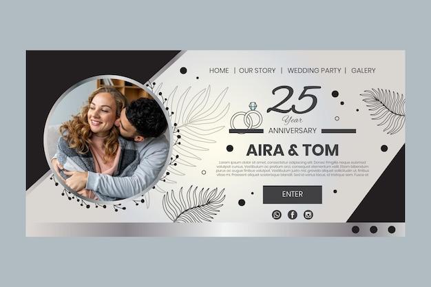 Целевая страница годовщины свадьбы Premium векторы