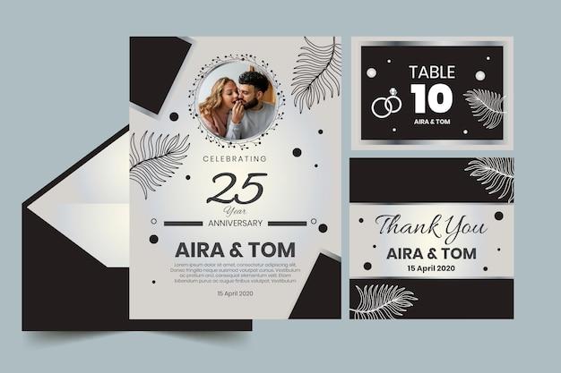Канцелярские товары годовщины свадьбы Бесплатные векторы