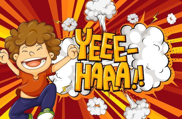 Yeee-haa слово на фоне взрыва с персонажем мультфильма мальчика Premium векторы