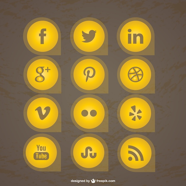 Yelllow social media icons collection Free Vector
