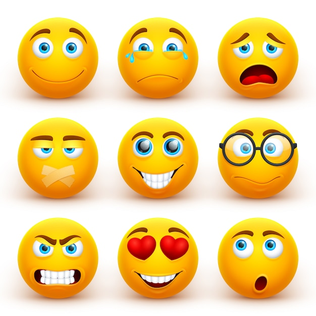 Yellow 3d emoticons set. funny smiley face icons with different expressions. Premium Vector